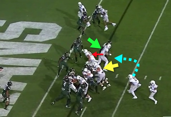 Wonderful blocking by the offensive linemen!