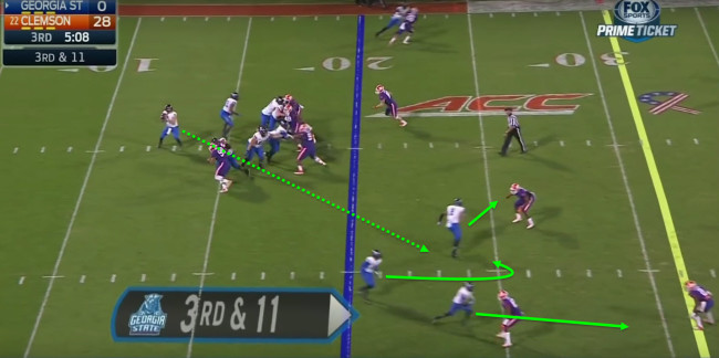 The trips formation takes advantage of spacing routes.