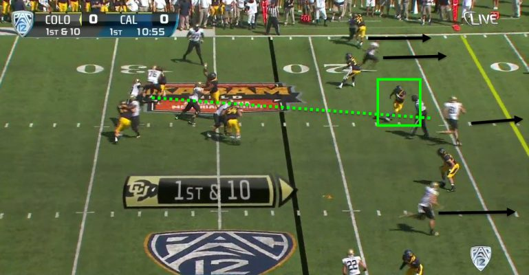 The middle linebacker and safety have some miscommunication leading to a touchdown.