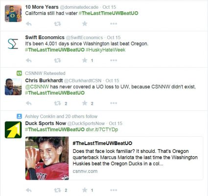 Some recent hilarious tweets with the hashtag #thelastimeuwbeatuo