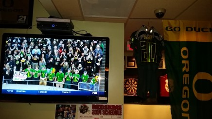 Watching the game with the DC Oregon Alumni association at the Irish Channel