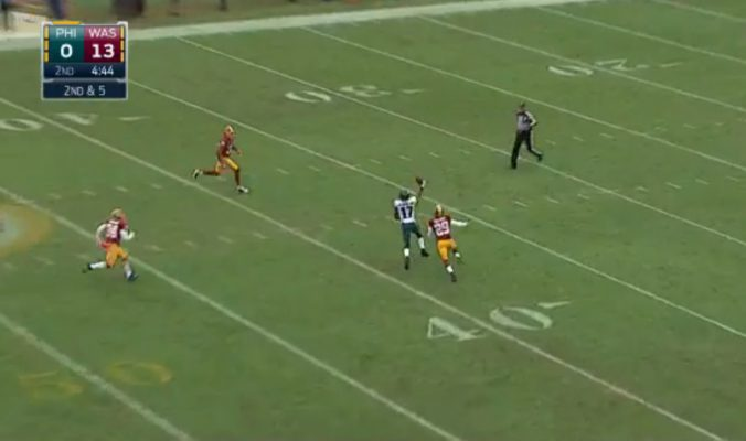 Nelson Agholor catches a 45-yard pass one-handed