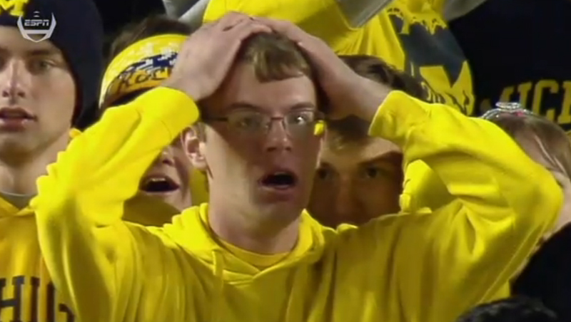 Michigan fans weren't alone in being stunned by the shocking end to their game against Michigan State Saturday.