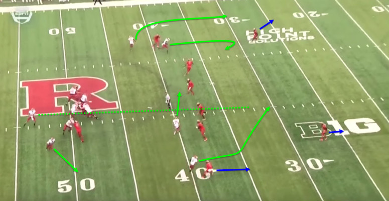 The linebackers are sucked in by the drag route and the safeties are otherwise occupied