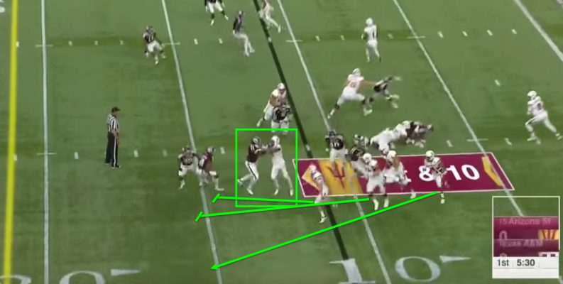 Foster gets a second block in allowing the 3 other blockers to account for every defender.