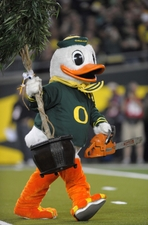 The duck ready to cut down the trees