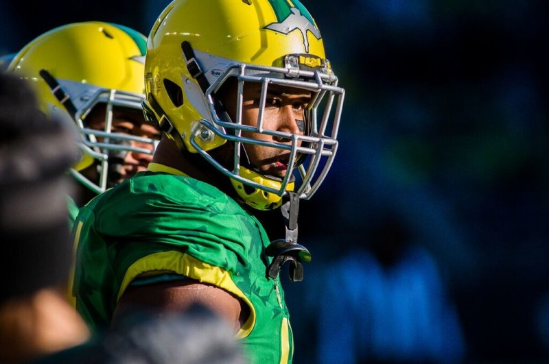 DeForest Buckner was one of several Oregon seniors playing their final game at Autzen Stadium.