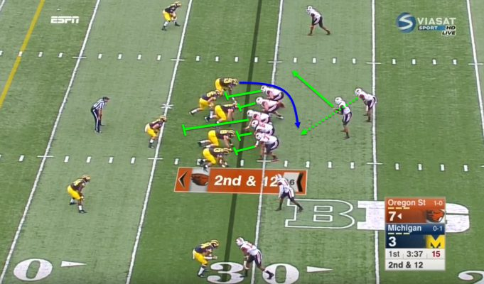 The left defensive end is the read man.