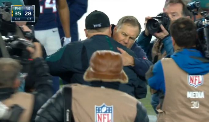 Belichick and Chip hug it out