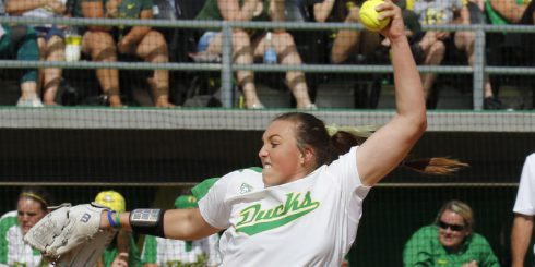 Not-so-secret weapon Cheridan Hawkins pitching against UCLA during their last match up in conference play.