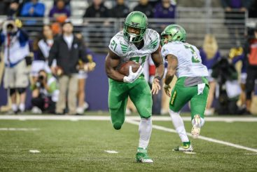 Royce Freeman is closing in on the career rushing record for the Pac-12's leading rushing team.