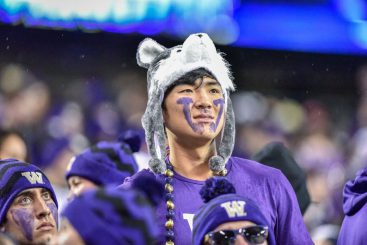Husky fan shows off his Kool-Aid smile.