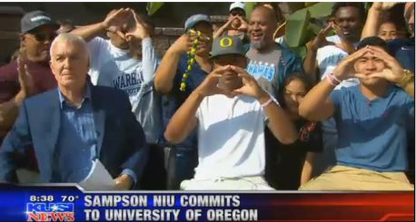 Sampson Niu had a televised commitment to Oregon with family and friends