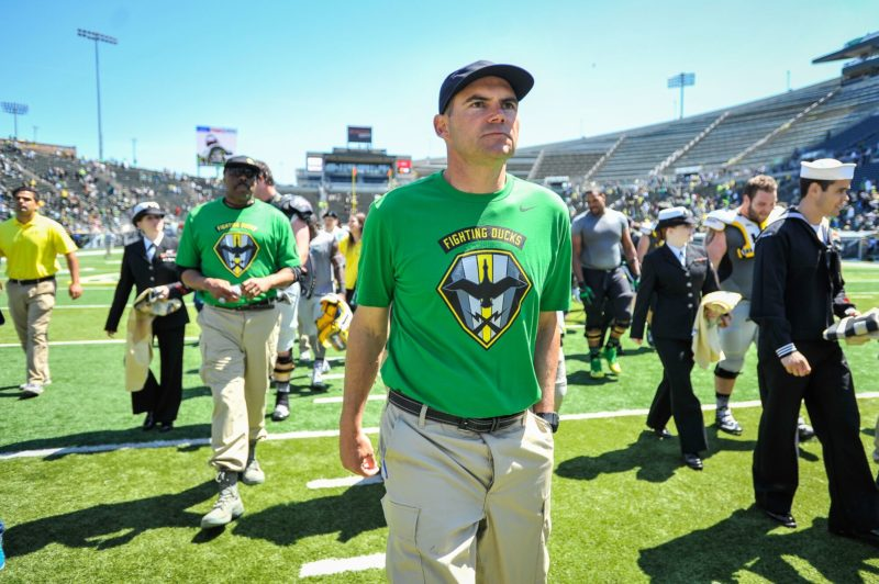 Mark Helfrich at the Spring Game.