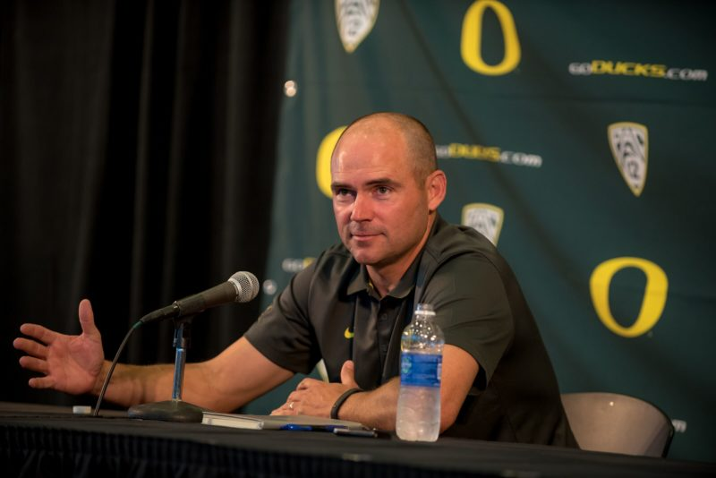 Mark Helfrich answers questions at Media Day