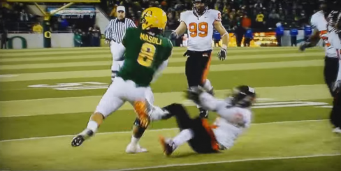 Masoli ran over Oregon State's Mitchell, spun, and got the fourth down.