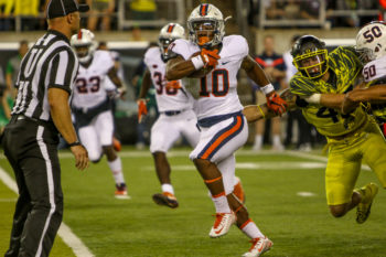 The Oregon defense struggled contain a rebuilding Virginia teams rushing attack