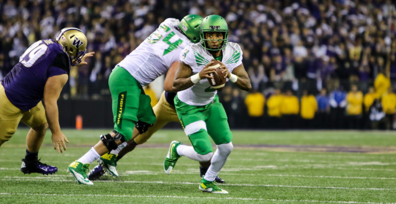 Vernon Adams led the Ducks to their 12th straight win over Washington in 2015.