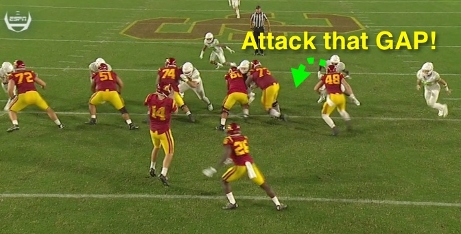 Linebacker....get your head in that gap!