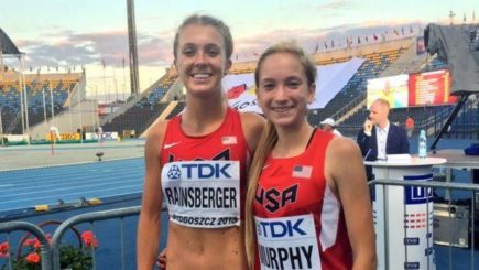Rainsberger and Murphy, after their 3000m race in Poland. They will be a great combination at Hayward Field in the future.