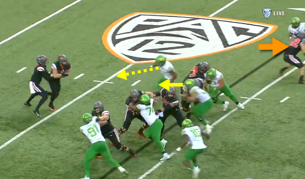 Two Oregon defenders on the quarterback AGAIN.