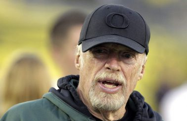 Phil Knight attending a game of his beloved Ducks