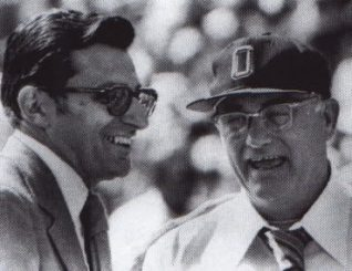 Coaching legends Joe Paterno and Woody Hayes
