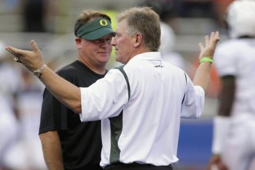 Coach Kelly and Mike Bellotti 2009 at Boise State